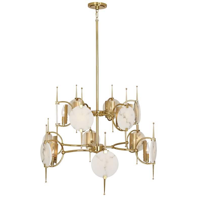 "Robert Abbey Jace 32"" Wide Modern Brass 12-Light Chandelier"