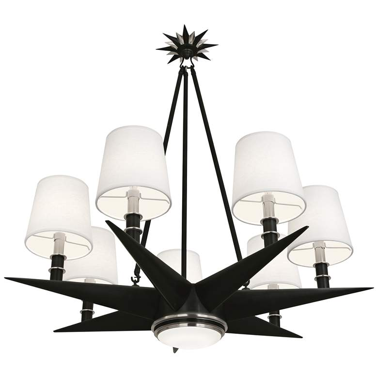 """Cosmos 35 3/4"""" Wide Bronze and Silver 8-Light Chandelier"""