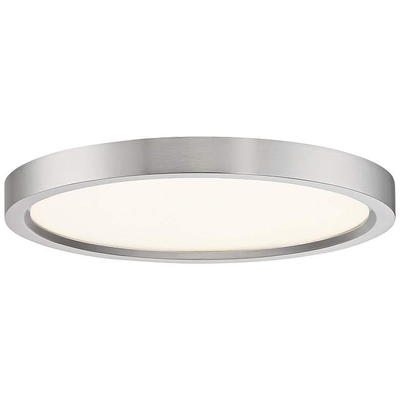 """Quoizel Outskirt 11"""" Wide Brushed Nickel LED Ceiling Light"""