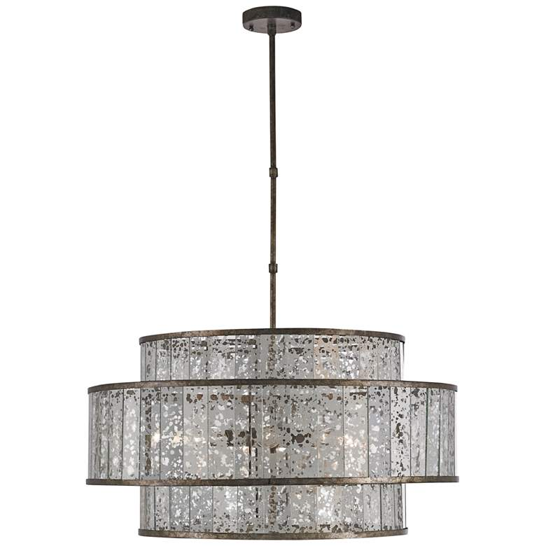 "Fantine 30"" Wide Pyrite Bronze and Raj Mirror Chandelier"