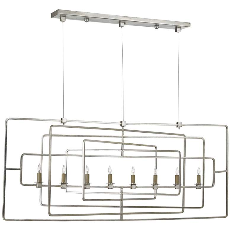 "Metro 54"" Wide Silver Leaf Kitchen Island Light Chandelier"