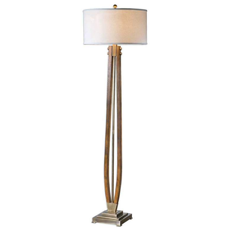 Uttermost Boydton Burnished Honey Stain Wood Floor Lamp