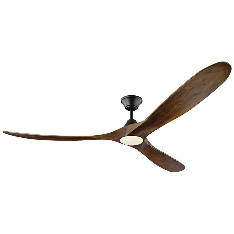 "70"" Maverick Max Matte Black - Dark Walnut LED Large Ceiling Fan"