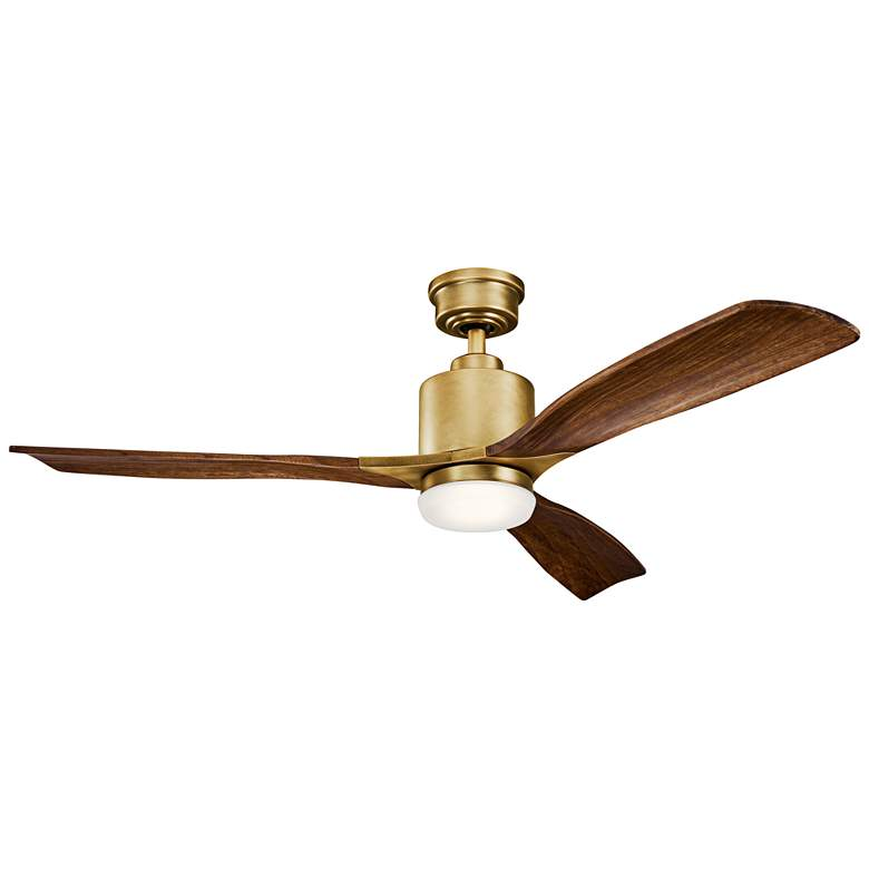 "52"" Kichler Ridley II Natural Brass LED Ceiling Fan"
