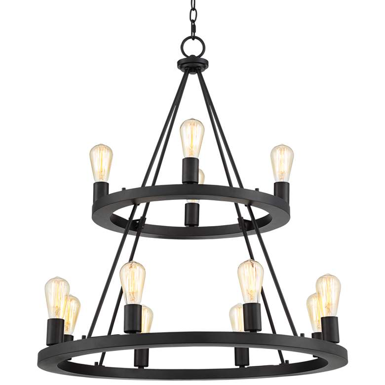 """Lacey 29 1/4""""W Round Black 2-Tier 12-Light LED Chandelier"""