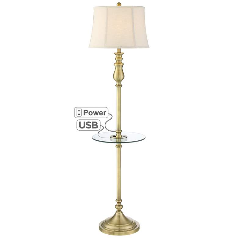 Hamlet Brass Tray Table Floor Lamp with Outlet and USB Port