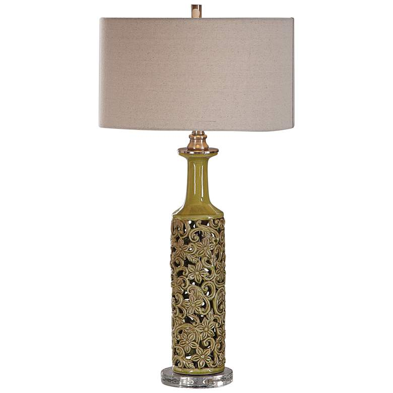 Uttermost Nellie Yellow And Green Glaze Ceramic Table Lamp