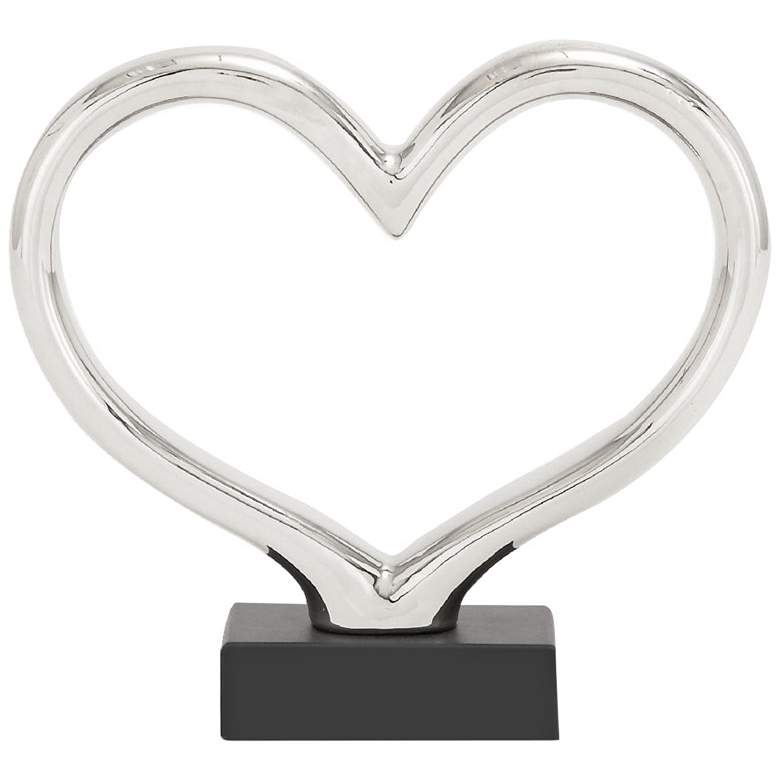 """Contemporary Silver 13""""W Abstract Heart Ceramic Sculpture"""