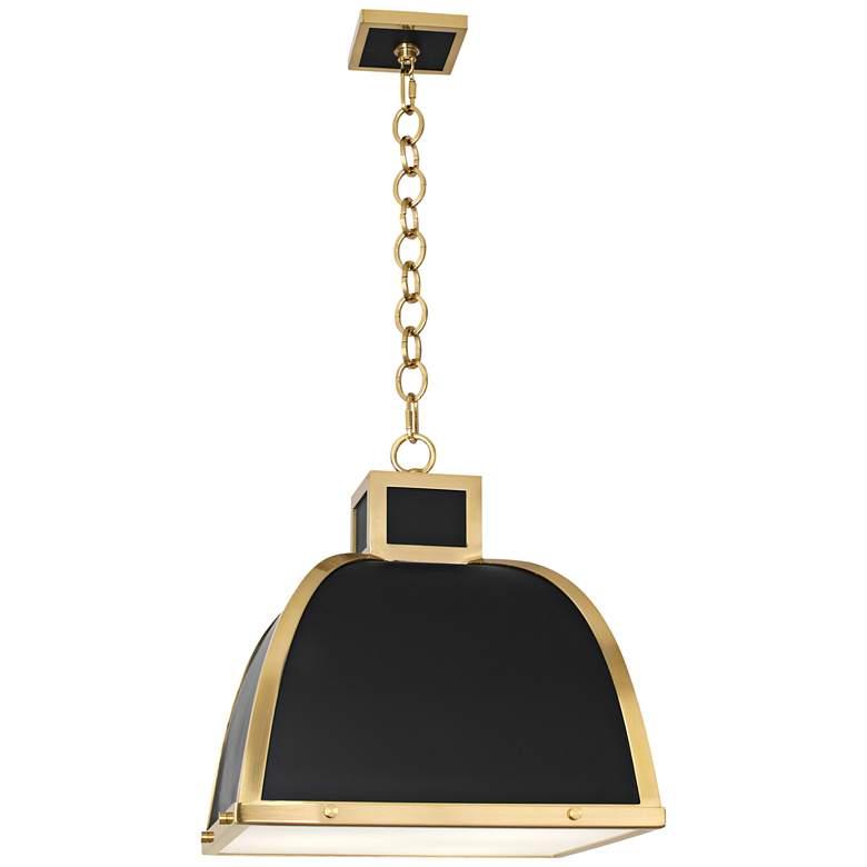 "Robert Abbey Ranger 17 1/2""W Black and Brass Pendant Light"
