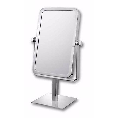 "Aptations Chrome 9 3/4"" High Rectangular Vanity Stand Mirror"