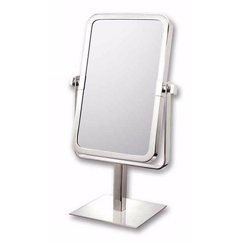 "Brushed Nickel 9 3/4"" High Rectangular Vanity Stand Mirror"