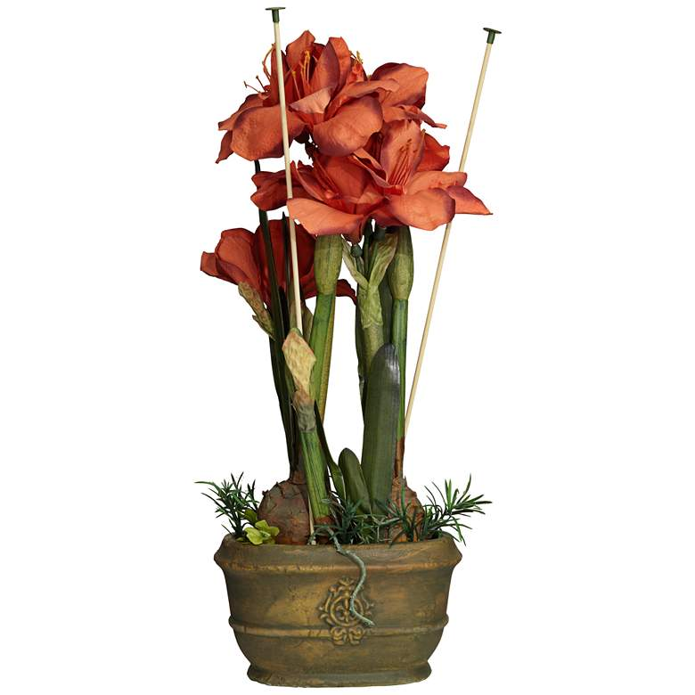 """Red Triple Amaryllis 25"""" High Faux Flowers in Oval Pot"""