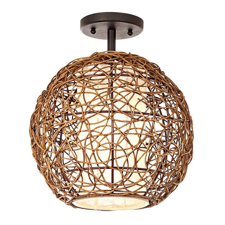 Organic Contemporary Rattan Ceiling Fixture