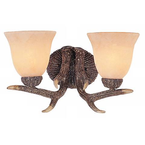 "Replica Deer Antler Two-Light 15 1/2"" Wide Wall Sconce"