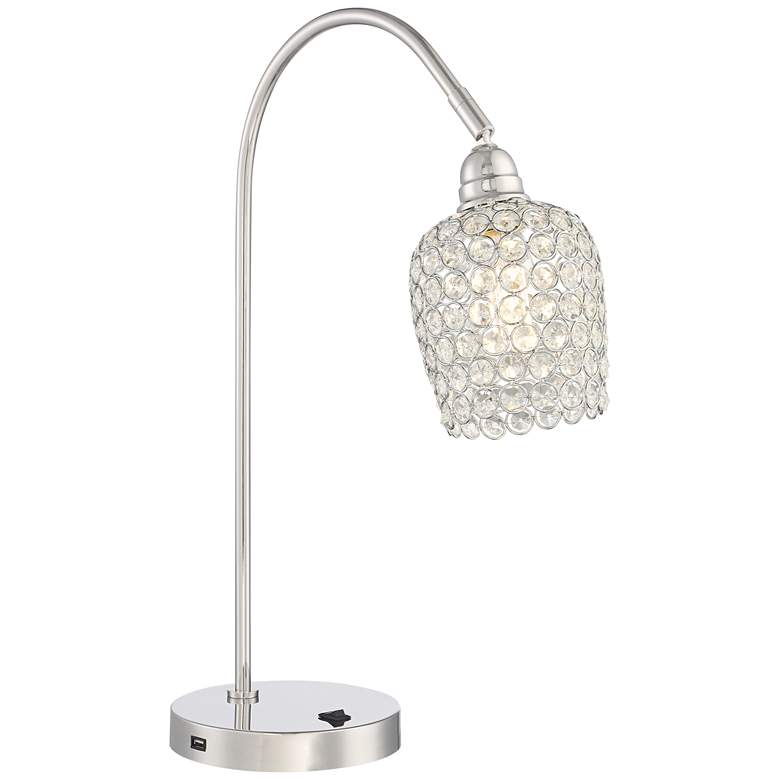 Erin Polished Nickel Beaded Crystal Desk Lamp With Usb
