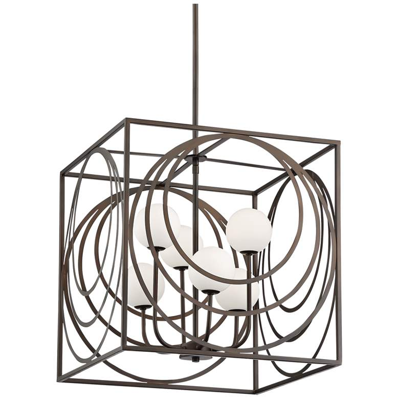 "Possini Euro Darlene 19"" Wide Bronze 6-Light LED Pendant"