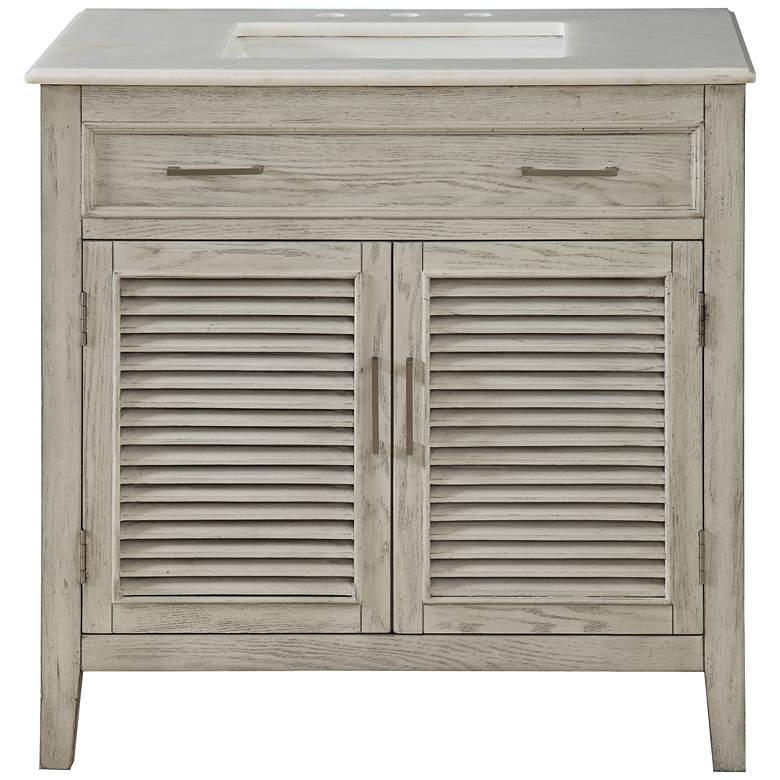 """Hampshire 35"""" Wide Ash and Marble Single Sink Vanity"""