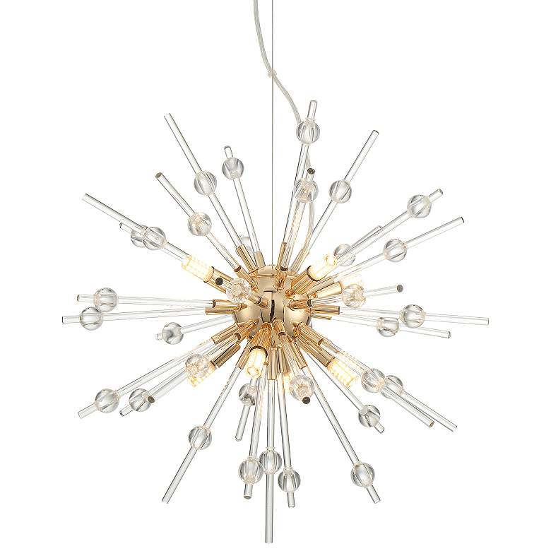 """Frenetica 21 1/2"""" Wide Gold and Glass LED Pendant Light"""