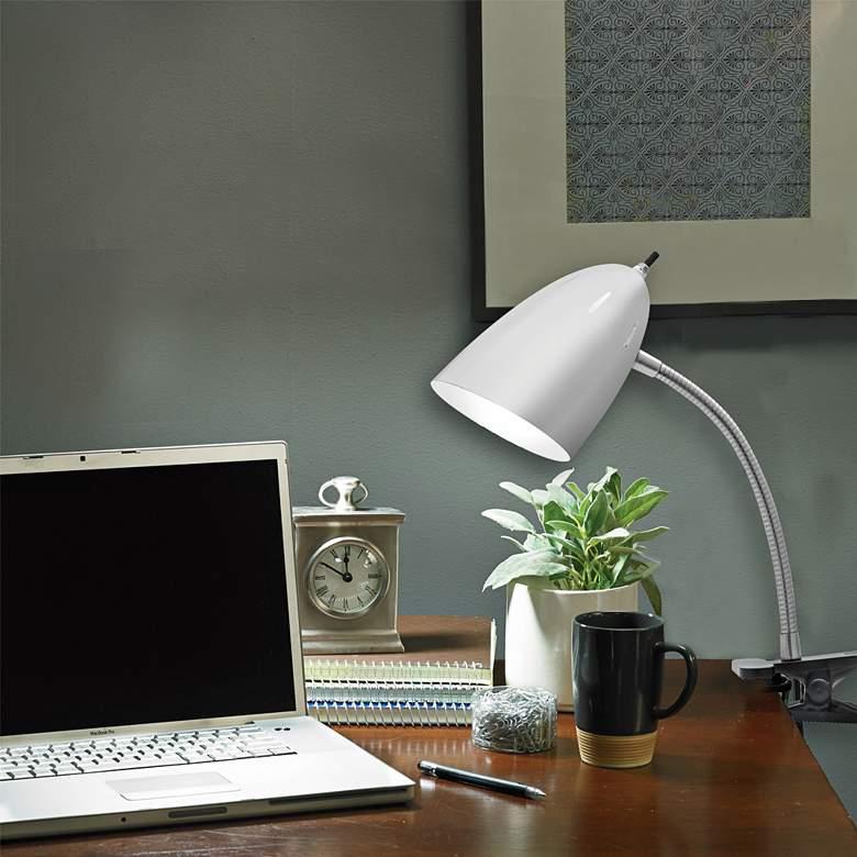 Dylan Brushed Steel Gooseneck Clip On Led Desk Lamp 67d10 Lamps Plus
