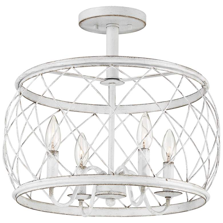 "Quoizel Dury 17 1/2""W Antique White 4-Light Ceiling Light"