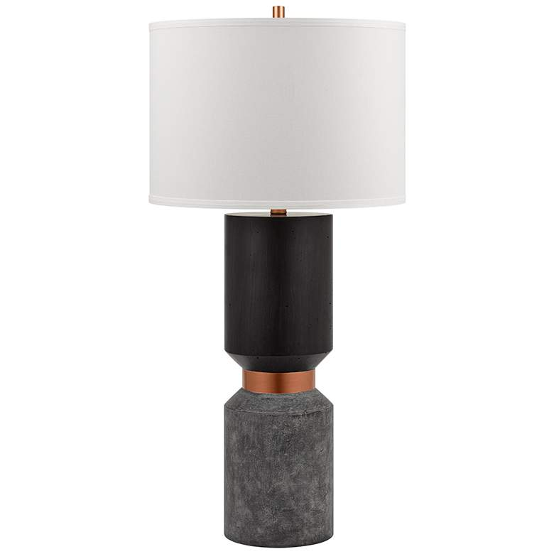 Iggy Black Faux Wood and Faux Cement LED Table Lamp