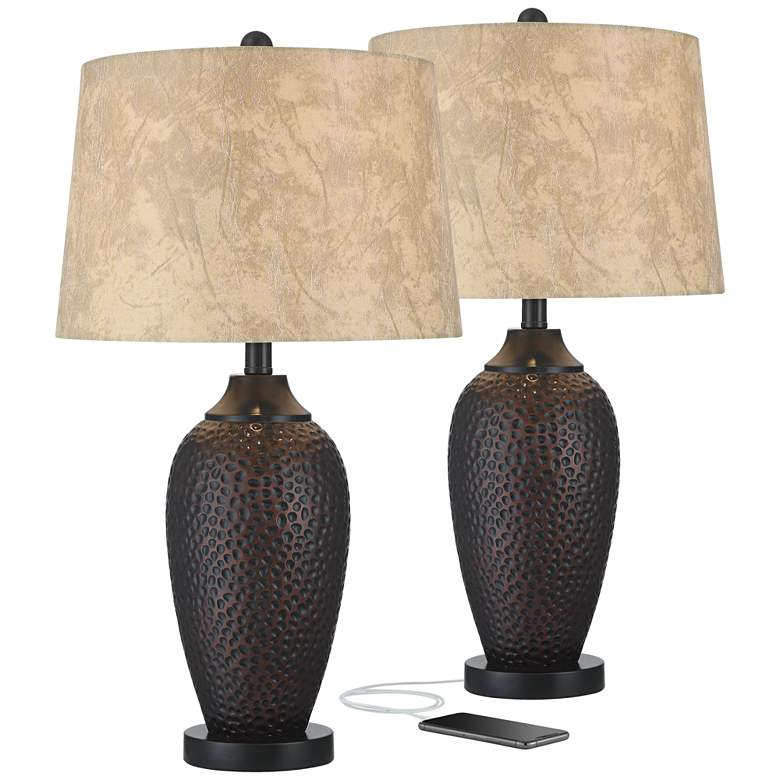 Kaly Hammered Oiled Bronze Table USB Lamps Set of 2