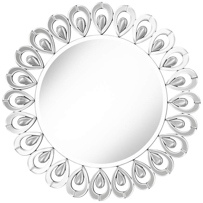 "Jordi 32"" Wide Round Glass & Crystal Peacock Wall Mirror"
