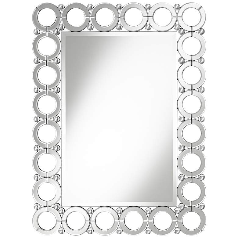 """Colley 33"""" x 44"""" Glass and Crystal Loop Wall Mirror"""