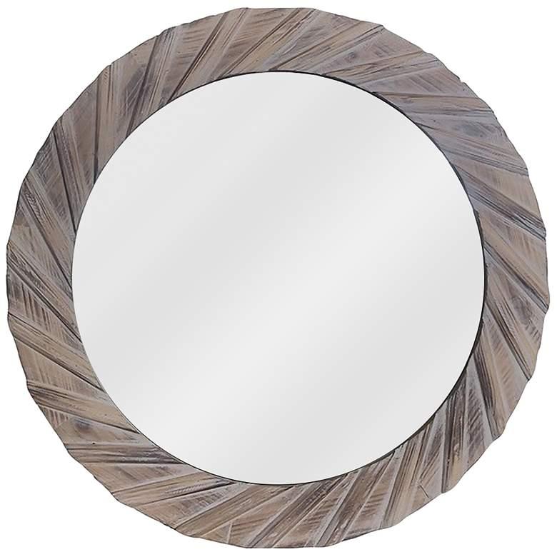 """Modern Farm I Natural Fir Wood 30"""" Round Wall Mirror"""