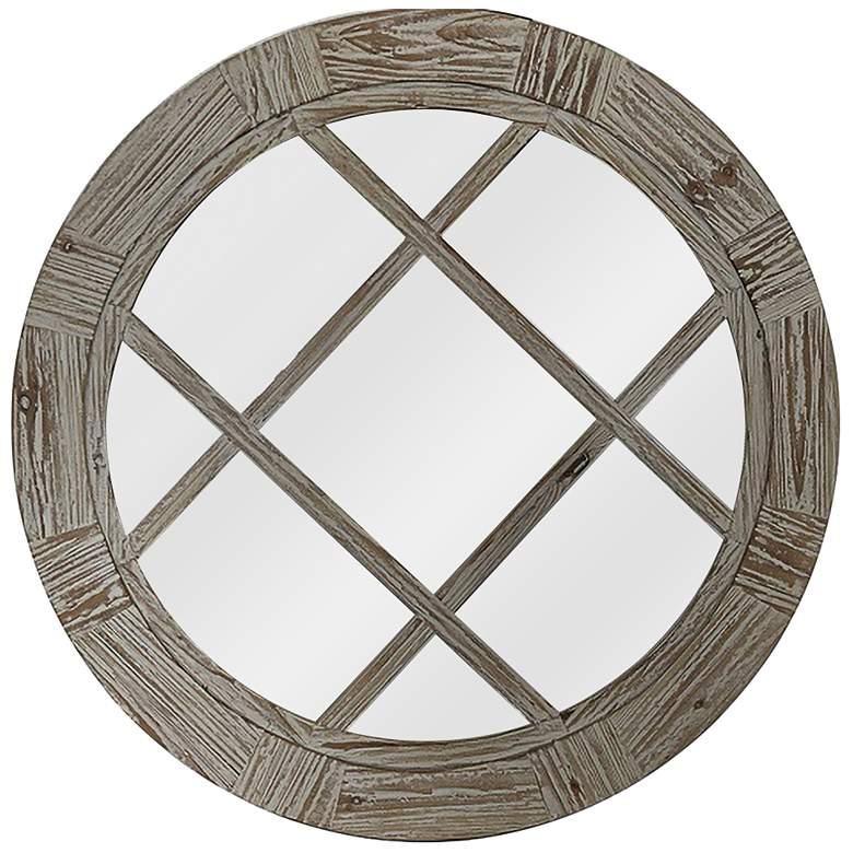 """Modern Farm II Natural Fir Wood 35 1/2"""" Round Wall Mirror"""
