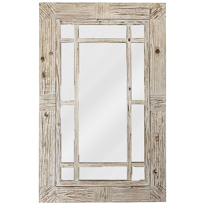 """Serene Reflection Natural Wood 30 3/4"""" x 47 1/2"""" Wall Mirror"""