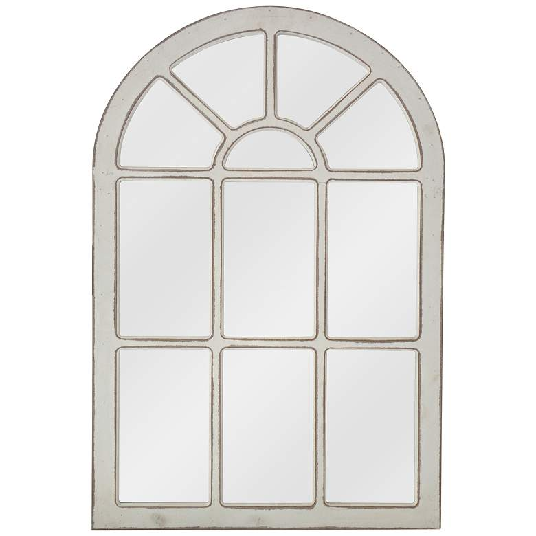"Acer White 24"" x 36"" Arch Wood Accent Wall Mirror"