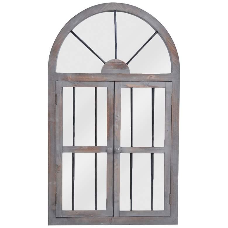 "Casual Door Gray Wood 25"" x 42 1/4"" Arch Top Wall Mirror"