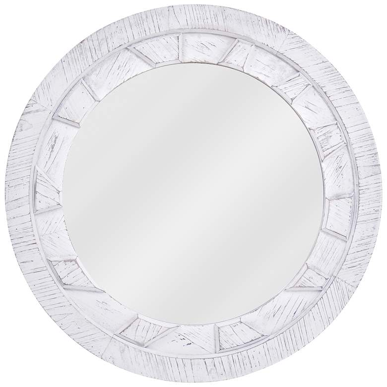 "Round Reflection White 31 1/2"" Wood Wall Mirror"