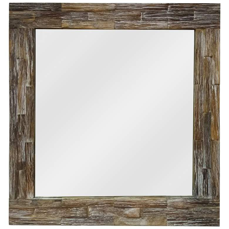 """Rustic Image I Wood 30"""" Square Wall Mirror"""