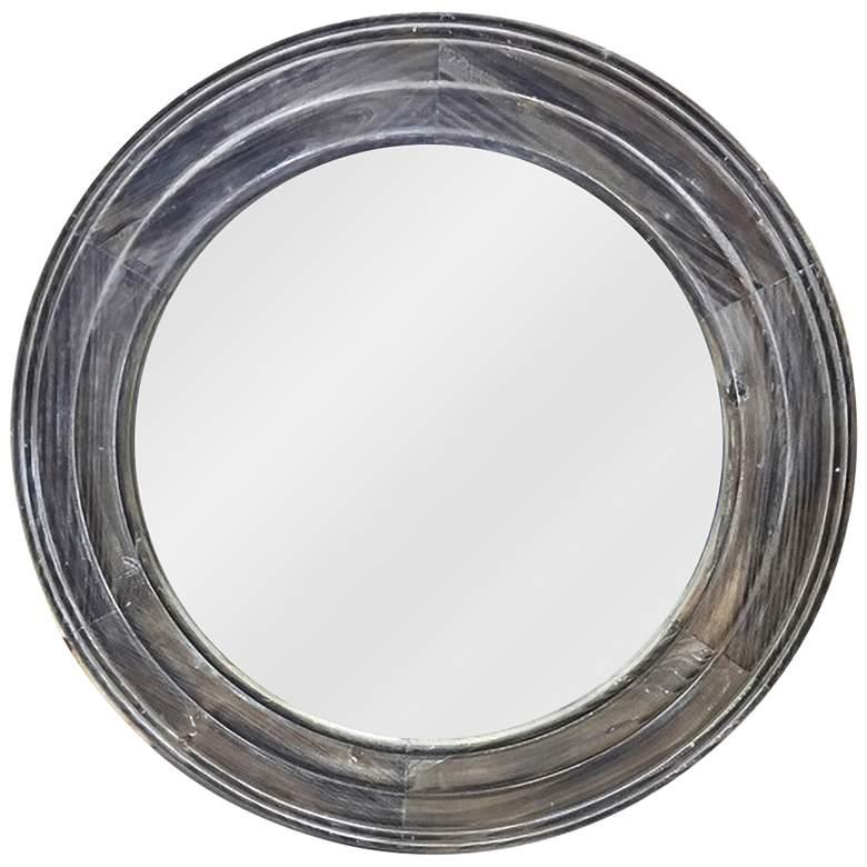 "Tes Antique Brown Fir Wood 30"" Round Wall Mirror"
