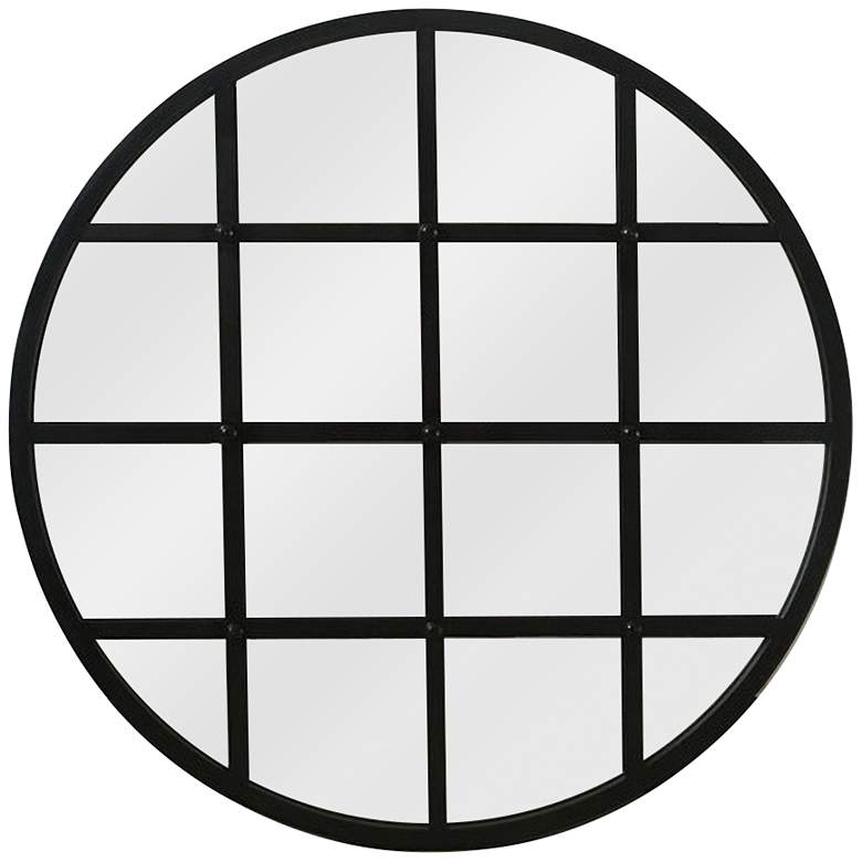 "Multi Reflect III Black Iron 31"" Round Wall Mirror"
