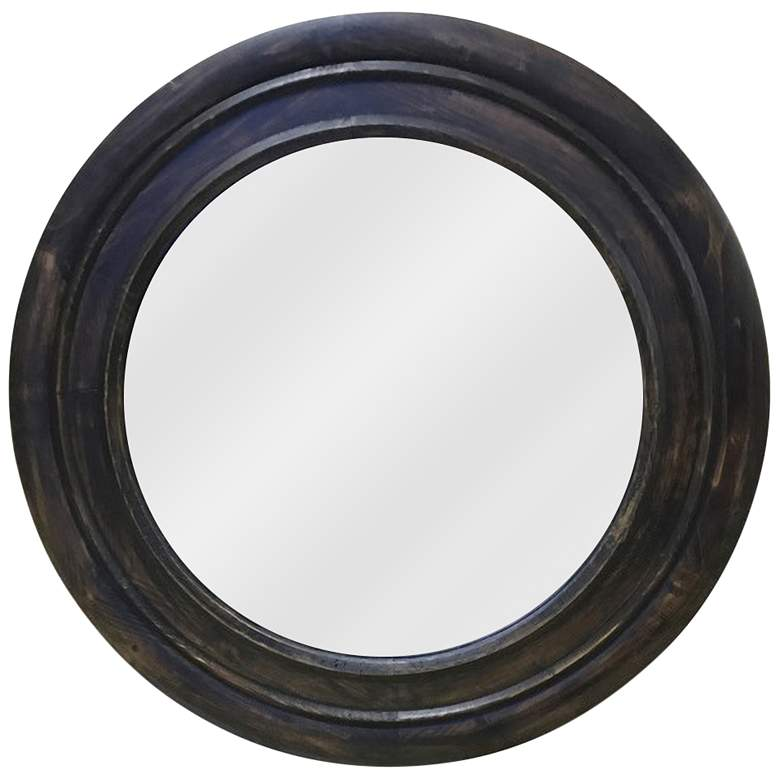 Reggie Black And Camouflage Color 31 Round Wall Mirror