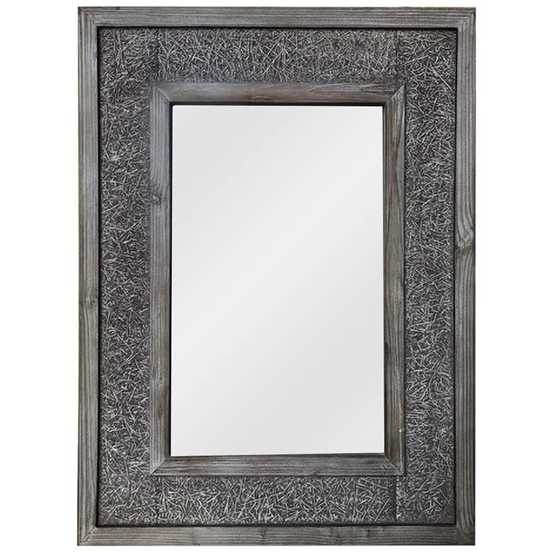"Mitch Antique Wood 23 1/2"" x 31 1/4"" Rectangular Wall Mirror"