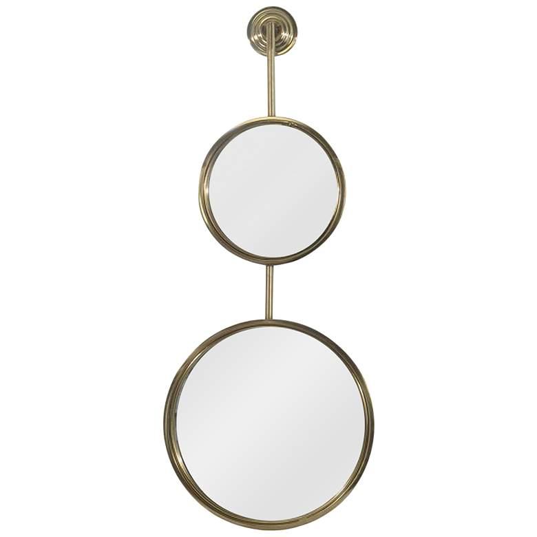 "Dual Reflection Gold Iron 13"" x 32 3/4"" Wall Mirror"