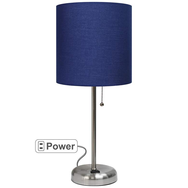 """LimeLights Stick Navy Shade 19 1/2"""" High Accent Table Lamp"""
