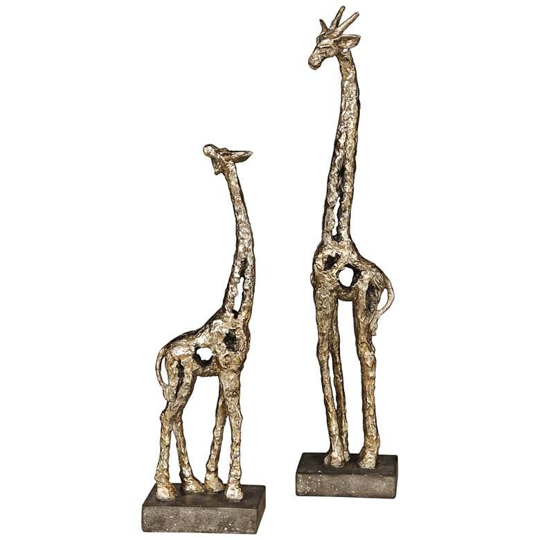 Masai Antique Metallic Silver Giraffe Figurines Set of 2