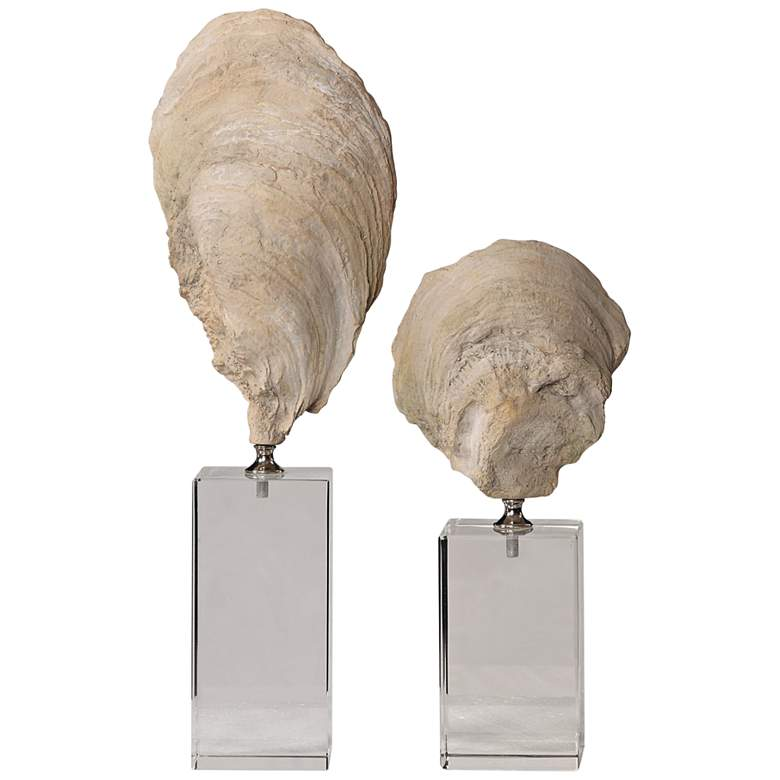 Uttermost Oyster Shell Aged Ivory Sculptures Set of 2