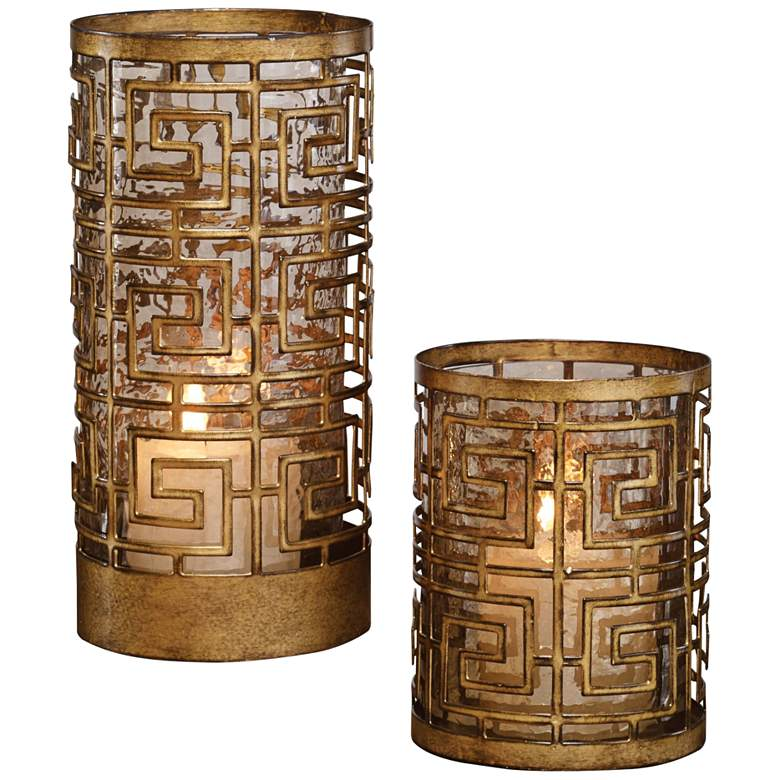 Ruhi Antique Gold Hurricane Candle Holders Set of 2