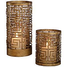 Ruhi Antique Gold Hurricane Candle Holders Set of 2