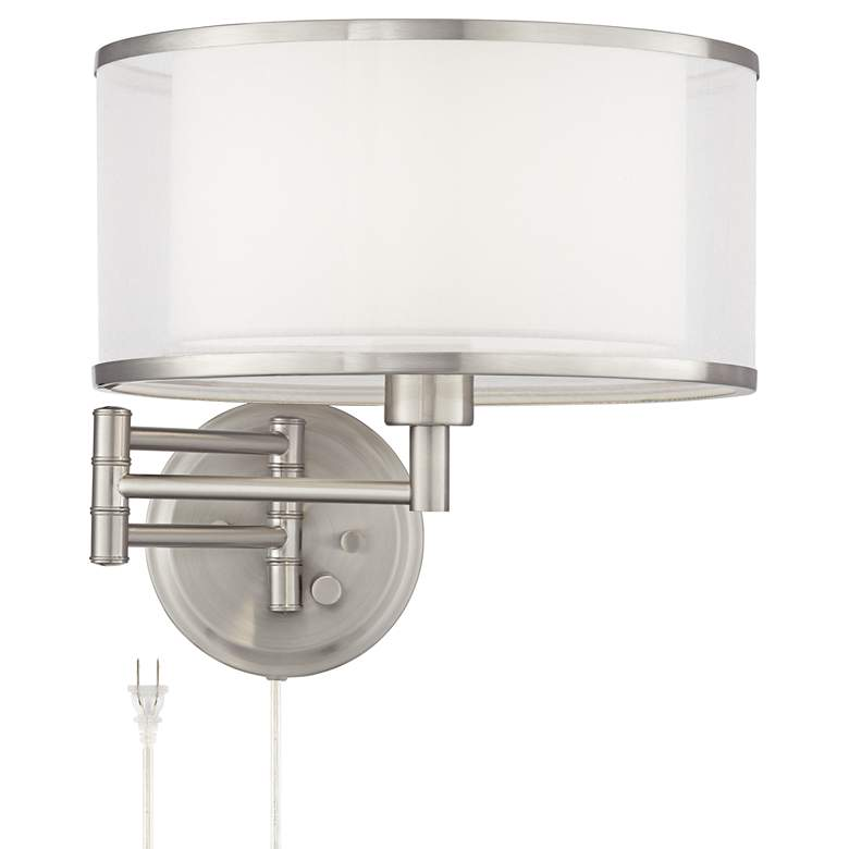 Possini Euro Lillie Brushed Nickel Swing Arm Wall Lamp