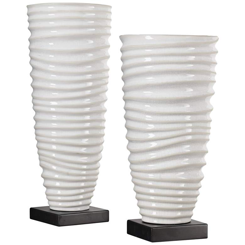 Kiera Ribbed and Crackled Aged Ivory Ceramic Vases Set of 2