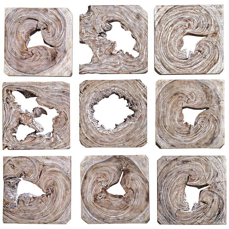 "Uttermost Bahati 16"" Wide 9-Piece Wood Wall Art Set"