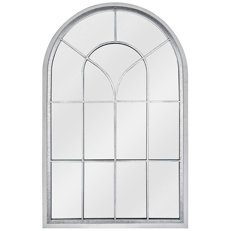 "Layne Silver and Whitewash 33"" x 51"" Arched Wall Mirror"