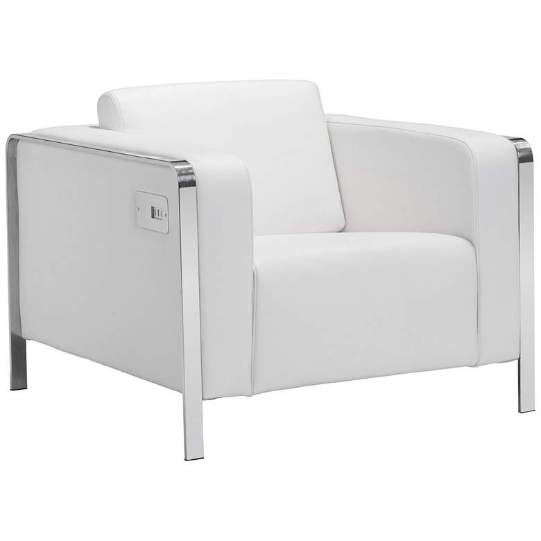 Zuo Thor White Leatherette Armchair